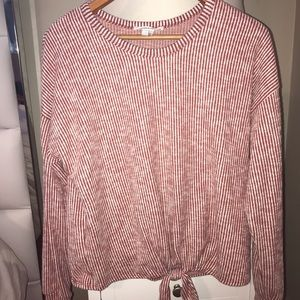 Caution To The Wind Sweaters - Stripped dark red front tie sweater